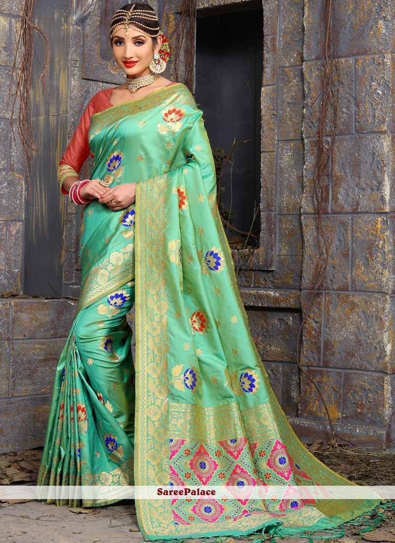 Orphic Art Silk Sea Green Designer Traditional Saree