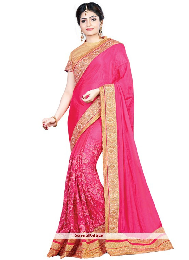 Orphic Hot Pink Faux Chiffon Designer Traditional Saree