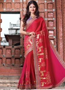 Orphic Red Patch Border Work Art Silk Designer Traditional Saree