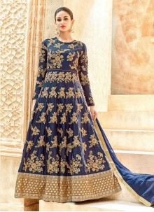 Outstanding Art Silk Patch Border Work Floor Length Anarkali Suit