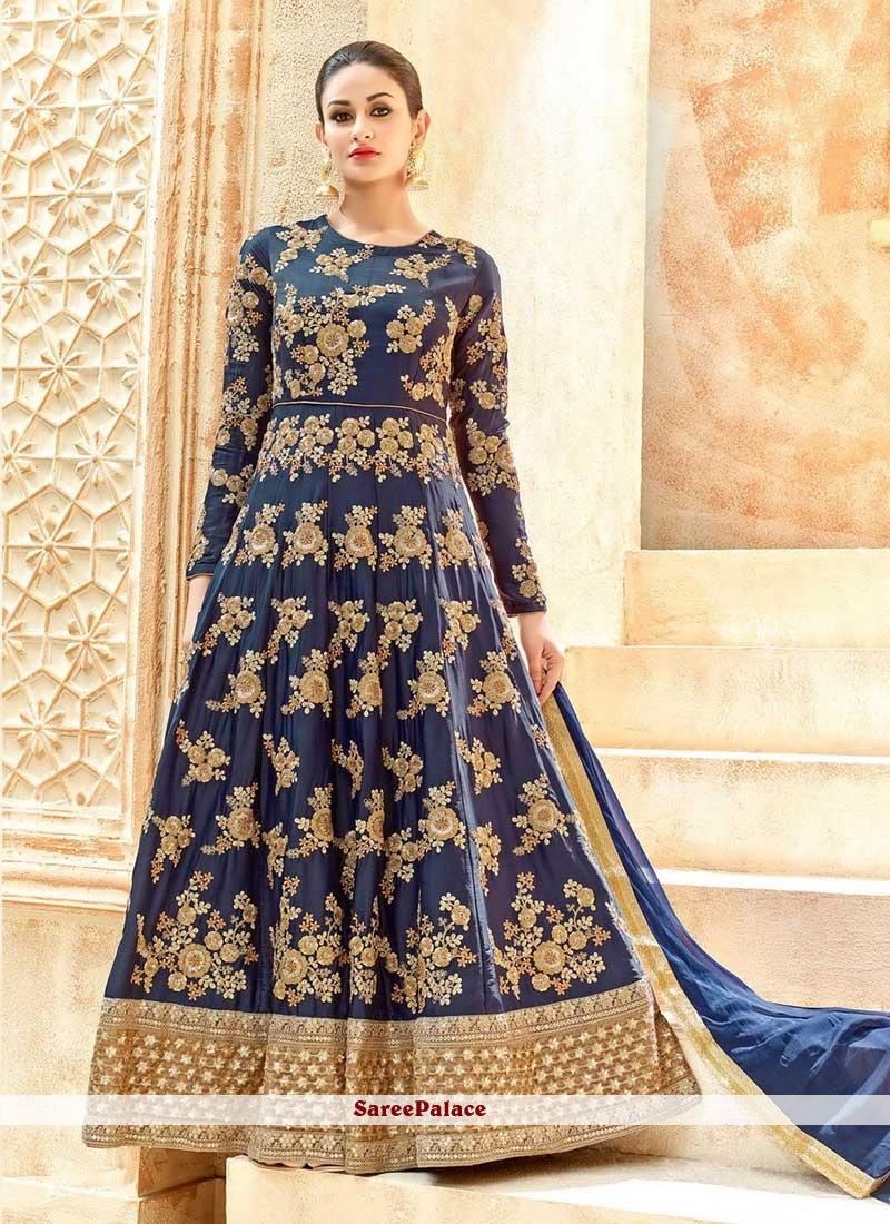 Outstanding Art Silk Patch Border Work Floor Length Anarkali Suit
