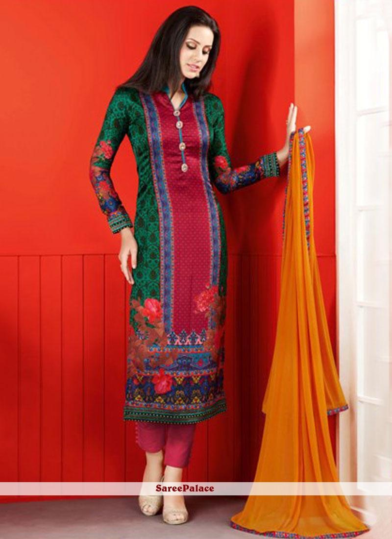 Digital Print Work Satin Churidar Suit In Multicolor