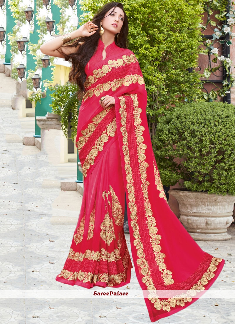 2f6b626d96d78 Buy Outstanding Faux Georgette Resham Work Classic Saree Online