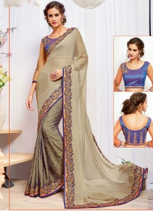 Outstanding Patch Border Work Faux Chiffon Classic Designer Saree