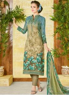 Outstanding Print Work Cotton   Churidar Designer Suit