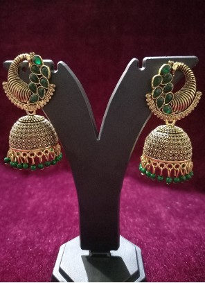 Oxidised Plating Ear Rings in Gold and Green