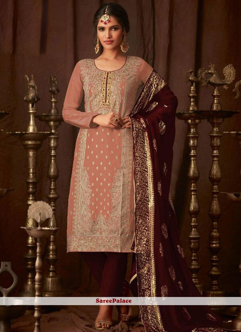 Pakistani Salwar Kameez Embroidered Georgette in Maroon