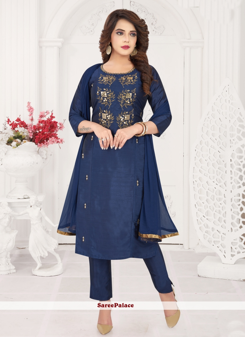 Pant Style Suit Embroidered Art Silk in Blue