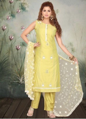 Pant Style Suit Embroidered Art Silk in Yellow