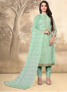 Pant Style Suit Embroidered Chanderi in Turquoise