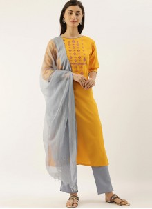 Pant Style Suit Embroidered Chanderi in Yellow