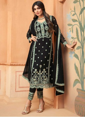 Pant Style Suit Embroidered Faux Georgette in Black