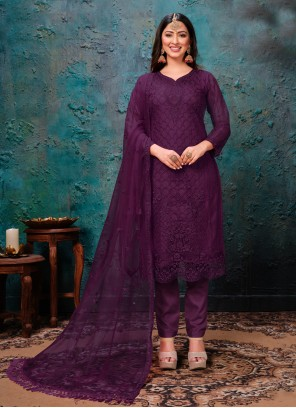 Pant Style Suit Embroidered Net in Purple
