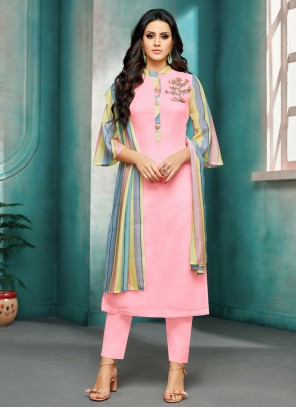 Pant Style Suit Embroidered Silk in Pink