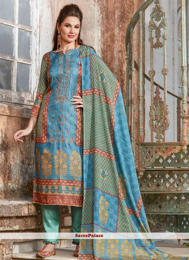 Pant Style Suit Embroidered Tussar Silk in Blue