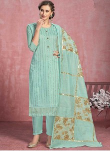 Pant Style Suit Fancy Cotton in Turquoise