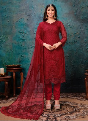 Maroon Pant Style Suit For Ceremonial