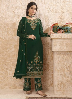Green Faux Georgette Pant Style Suit For Ceremonial