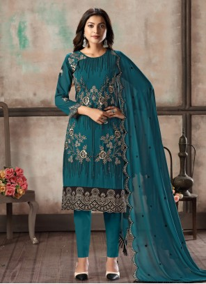 Teal Georgette Pant Style Suit For Party