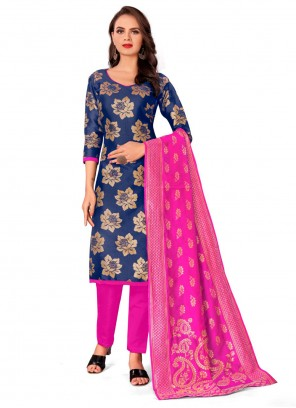 Blue Jacquard Work Pant Style Suit For Party