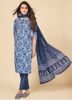 Pant Style Suit Print Cotton in Blue