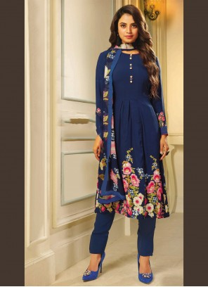 Pant Style Suit Printed Crepe Silk in Blue