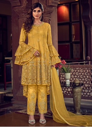 Pant Style Suit Resham Net in Yellow