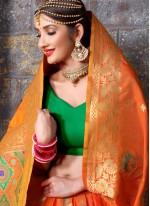 Paramount Art Silk Orange Traditional  Saree