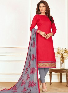 Paramount Embroidered Work Cotton   Churidar Suit