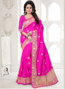 Paramount Hot Pink Embroidered Work Traditional  Saree