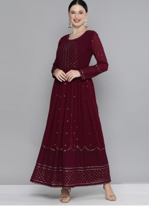 Party Wear Kurti Embroidered Georgette in Maroon