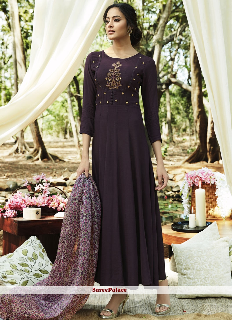 Party Wear Kurti Embroidered Rayon in Purple