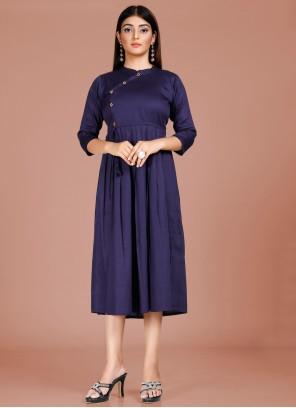 Party Wear Kurti Fancy Cotton in Blue