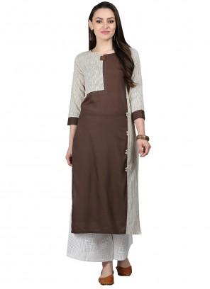 Party Wear Kurti Fancy Cotton in Brown