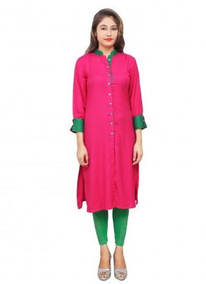 Party Wear Kurti Fancy Rayon in Hot Pink