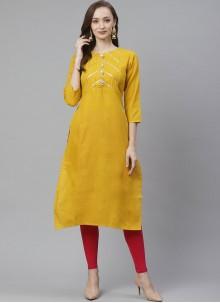 Party Wear Kurti Fancy Rayon in Mustard