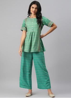 Party Wear Kurti Fancy Rayon in Sea Green