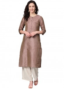 Party Wear Kurti Fancy Silk in Brown