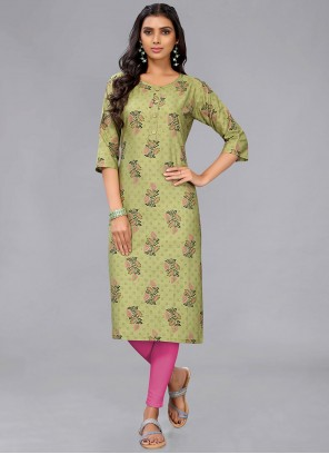 Green Party Wear Kurti For Casual