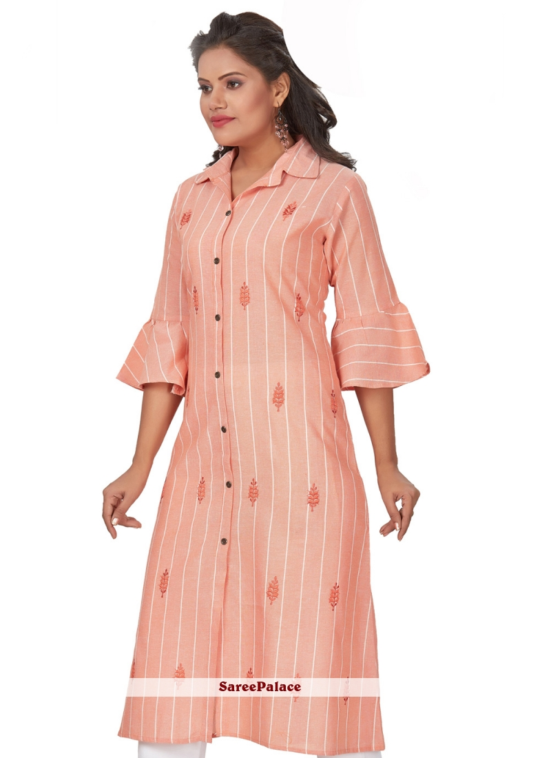 Peach Embroidered Party Wear Kurti