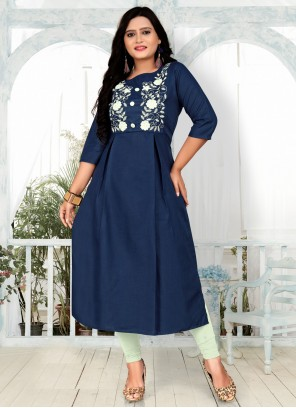 Blue Party Wear Embroidered Kurti For Festival