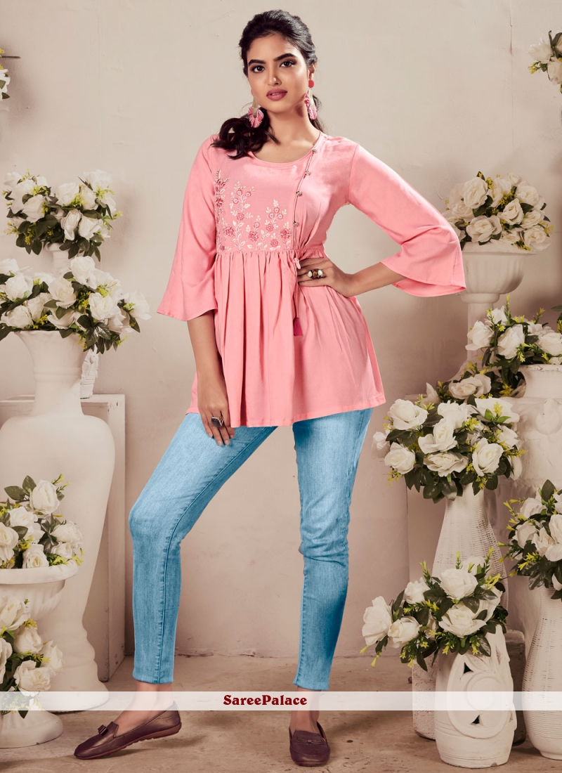 Pink Party Wear Kurti For Festival