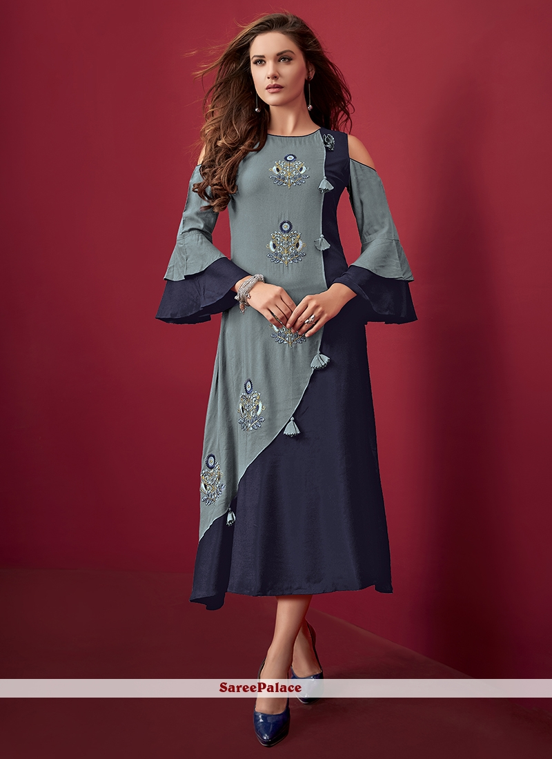 Grey Party Wear Kurti For Party