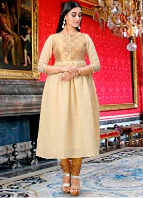 Cream Party Wear Kurti For Party