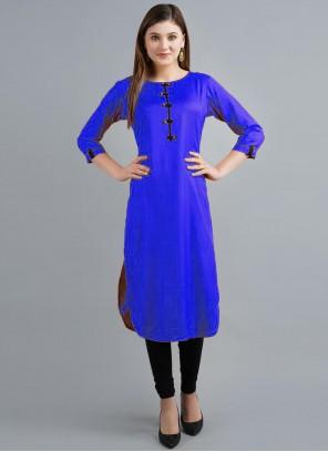 Party Wear Kurti Plain Rayon in Blue