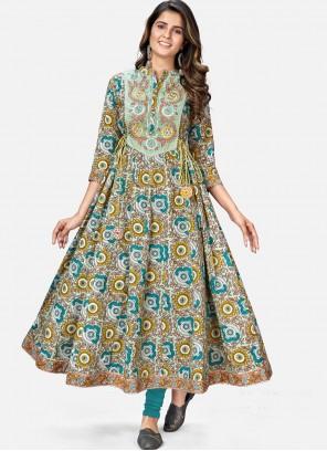 Party Wear Kurti Print Cotton in Multi Colour