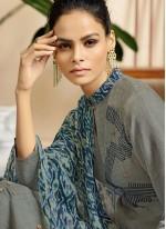 Party Wear Kurti Print Fancy Fabric in Grey