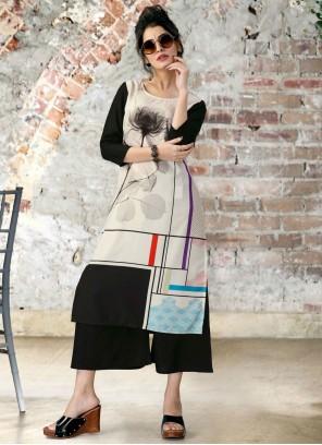 Party Wear Kurti Print Fancy Fabric in Multi Colour