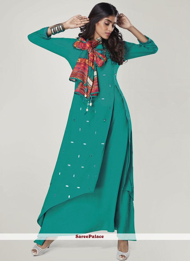 4f63b2843cf Buy Party Wear Kurti Print Rayon in Blue Online
