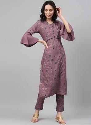 Party Wear Kurti Print Rayon in Lavender